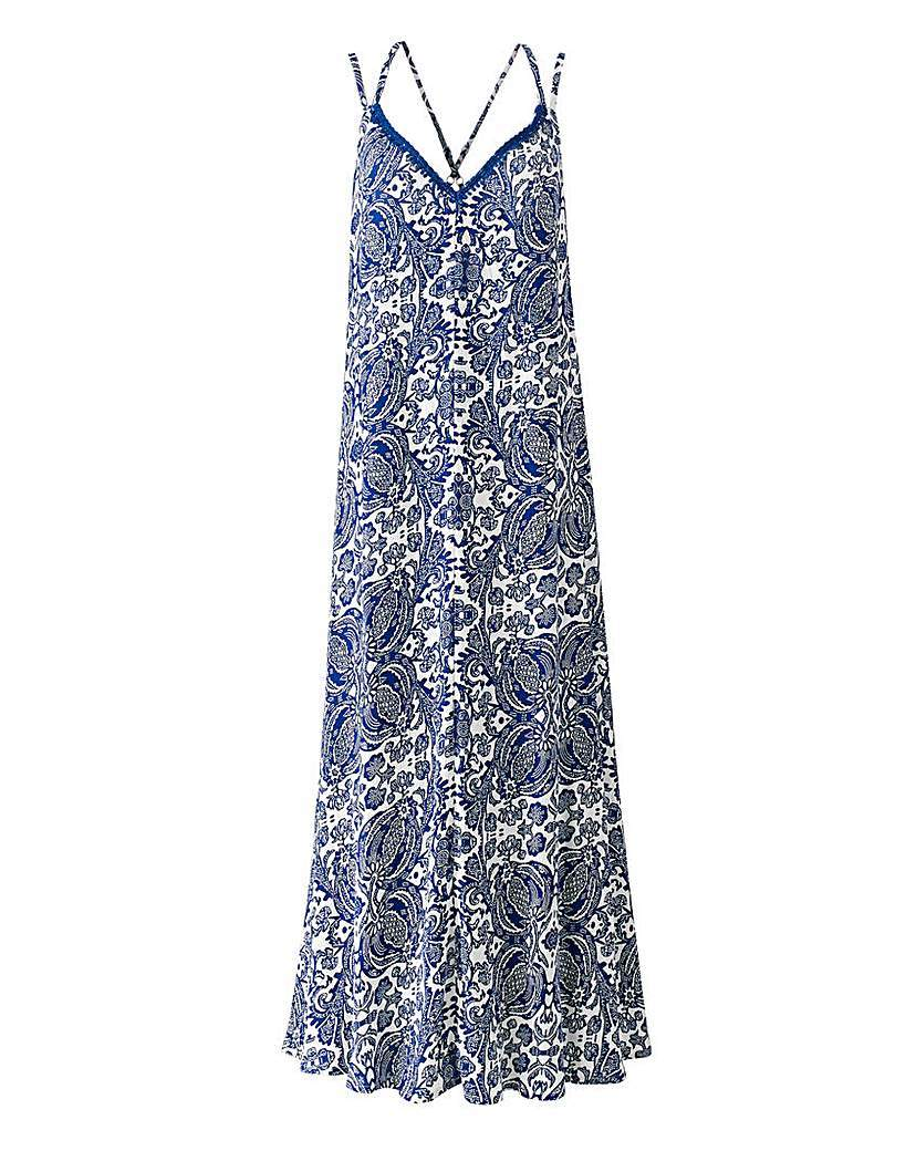 White/Blue Paisley Print Maxi Dress - neckline: low v-neck; sleeve style: spaghetti straps; style: maxi dress; length: ankle length; secondary colour: white; predominant colour: royal blue; occasions: casual, evening; fit: soft a-line; fibres: viscose/rayon - 100%; sleeve length: sleeveless; pattern type: fabric; pattern size: big & busy; pattern: patterned/print; texture group: jersey - stretchy/drapey; season: a/w 2015; wardrobe: highlight