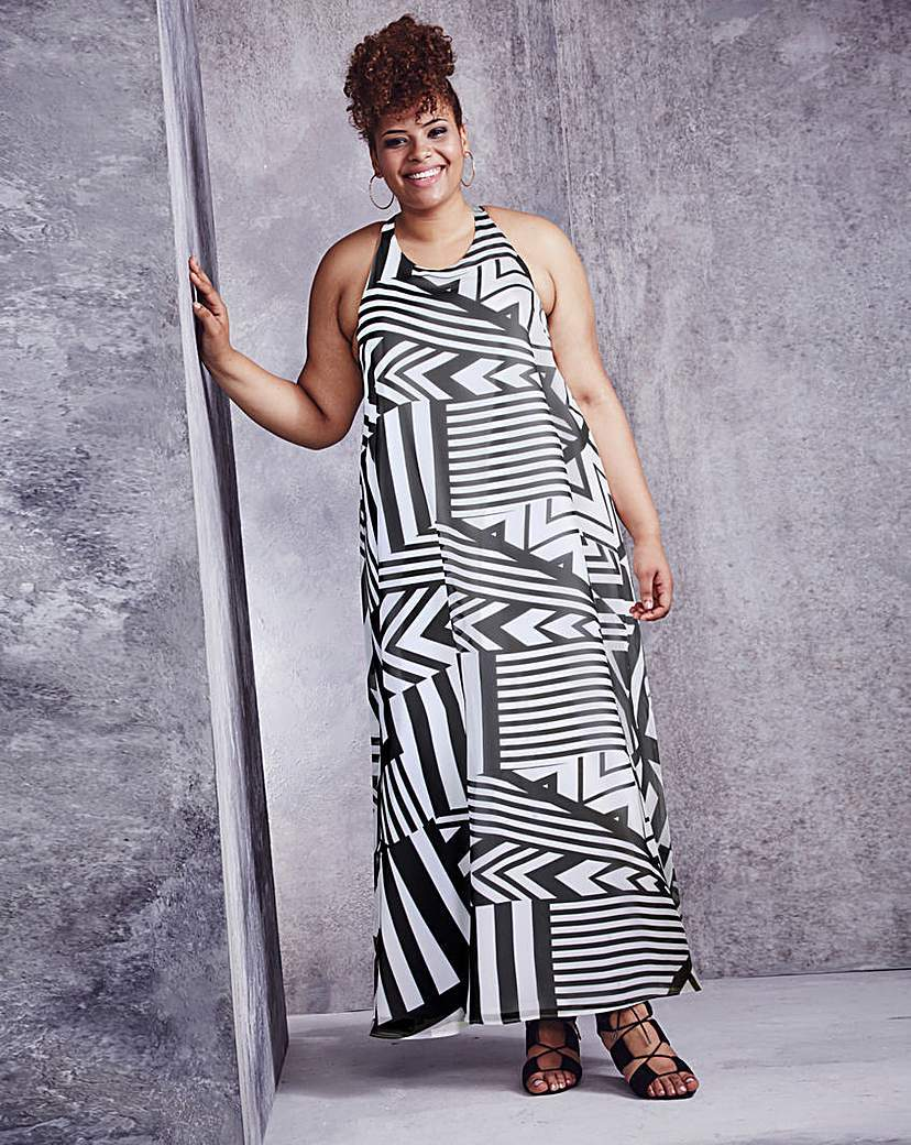Black/White Trapeze Print Maxi Dress - sleeve style: sleeveless; style: maxi dress; length: ankle length; secondary colour: white; predominant colour: black; occasions: casual; fit: body skimming; fibres: polyester/polyamide - 100%; neckline: crew; sleeve length: sleeveless; trends: monochrome; pattern type: fabric; pattern size: standard; pattern: patterned/print; texture group: other - light to midweight; season: a/w 2015; wardrobe: highlight