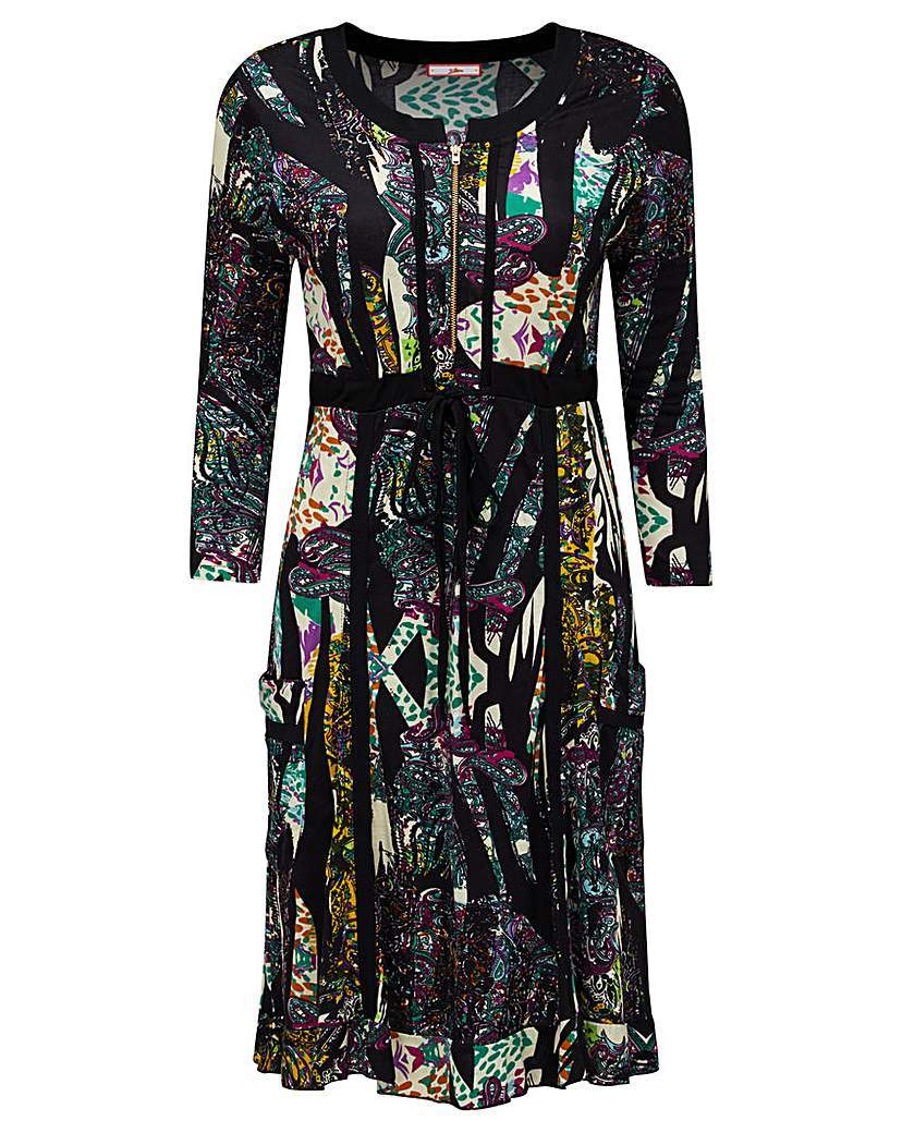 Joe Browns Mexicana Dress - style: shift; neckline: round neck; fit: fitted at waist; secondary colour: mustard; predominant colour: black; occasions: evening; length: just above the knee; fibres: viscose/rayon - 100%; sleeve length: 3/4 length; sleeve style: standard; pattern type: fabric; pattern size: light/subtle; pattern: patterned/print; texture group: jersey - stretchy/drapey; multicoloured: multicoloured; season: a/w 2015; wardrobe: event