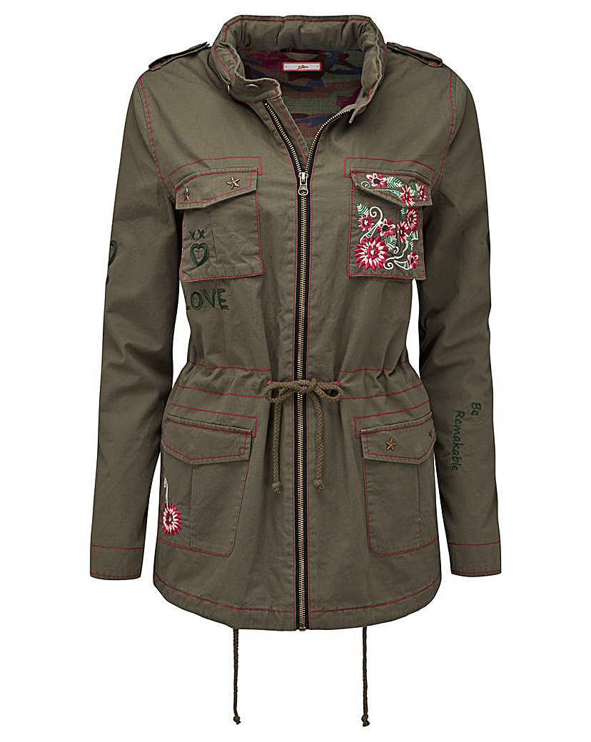 Joe Browns Khaki Jacket - style: boxy; predominant colour: pink; secondary colour: khaki; occasions: casual; fit: straight cut (boxy); fibres: cotton - 100%; length: mid thigh; collar: shirt collar/peter pan/zip with opening; sleeve length: long sleeve; sleeve style: standard; collar break: high/illusion of break when open; pattern type: fabric; pattern size: standard; pattern: patterned/print; texture group: woven light midweight; embellishment: applique; multicoloured: multicoloured; season: a/w 2015