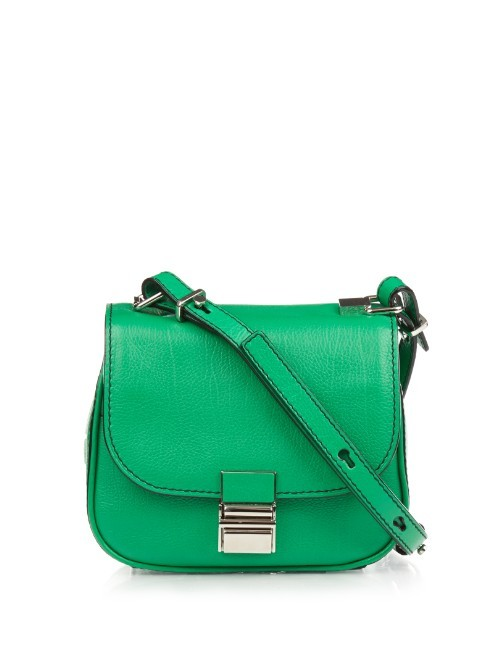 Kent Tiny Leather Cross Body Bag - predominant colour: emerald green; occasions: casual, creative work; type of pattern: standard; style: saddle; length: across body/long; size: standard; material: leather; pattern: plain; finish: plain; embellishment: chain/metal; season: a/w 2015; wardrobe: highlight