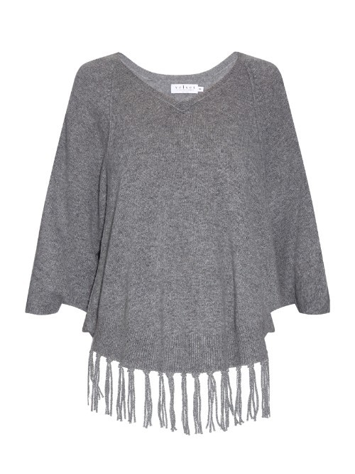 Trinity Fringed Hem Cashmere Poncho - neckline: v-neck; pattern: plain; sleeve style: sleeveless; predominant colour: mid grey; occasions: casual; length: standard; style: standard; fit: loose; fibres: cashmere - 100%; sleeve length: long sleeve; texture group: knits/crochet; pattern type: fabric; embellishment: fringing; season: a/w 2015