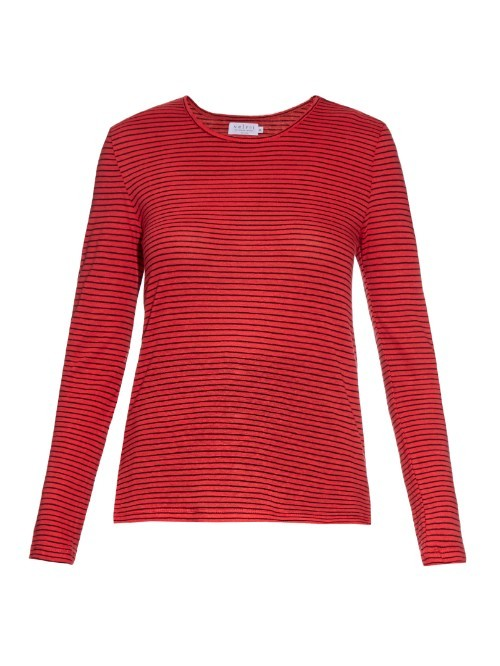 Hama Striped Linen Blend T Shirt - neckline: round neck; pattern: plain; style: t-shirt; predominant colour: true red; occasions: casual, creative work; length: standard; fibres: linen - mix; fit: body skimming; sleeve length: long sleeve; sleeve style: standard; texture group: linen; pattern type: fabric; season: a/w 2015