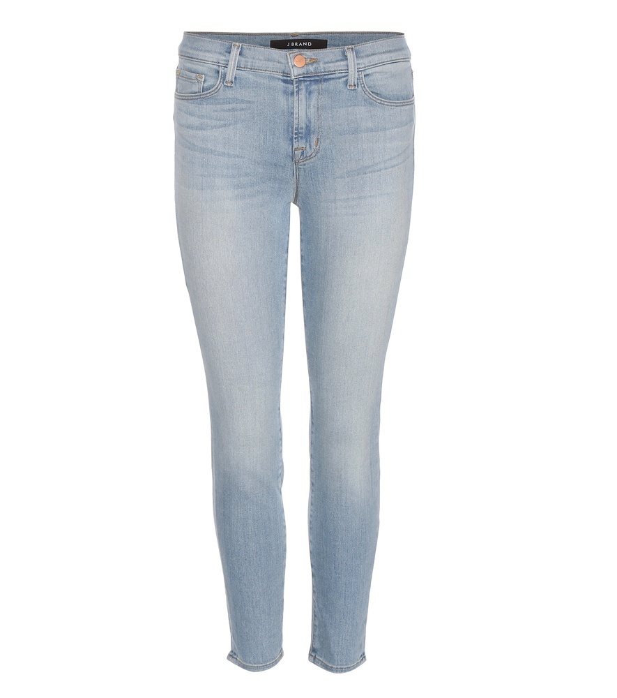 Capri Mid Rise Cropped Jeans - style: skinny leg; length: standard; pattern: plain; pocket detail: traditional 5 pocket; waist: mid/regular rise; predominant colour: pale blue; occasions: casual; fibres: cotton - stretch; jeans detail: washed/faded; texture group: denim; pattern type: fabric; season: a/w 2015