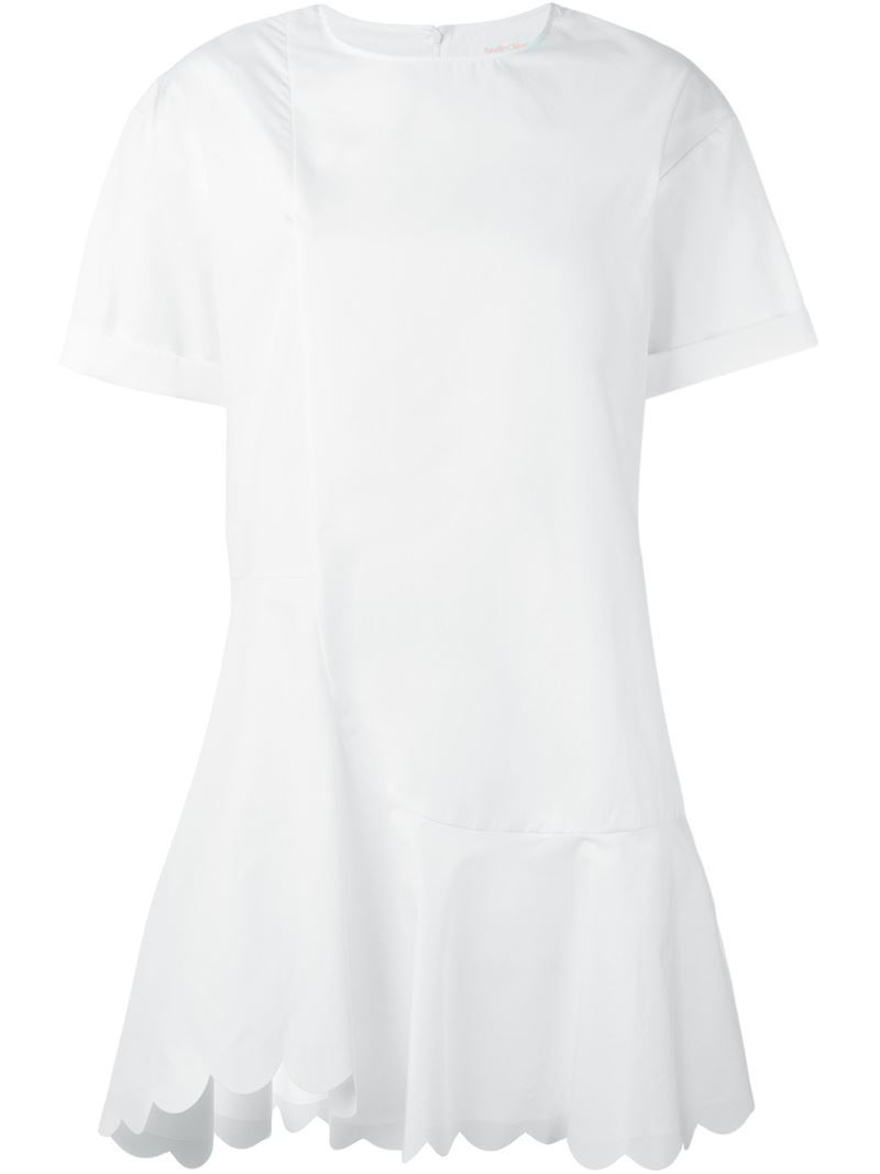Scalloped Hem Dress, Women's, White - length: mid thigh; pattern: plain; predominant colour: white; occasions: casual; fit: body skimming; style: asymmetric (hem); fibres: cotton - 100%; neckline: crew; hip detail: soft pleats at hip/draping at hip/flared at hip; sleeve length: short sleeve; sleeve style: standard; pattern type: fabric; texture group: other - light to midweight; season: a/w 2015
