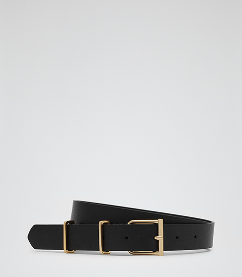 Theon Leather Belt - predominant colour: black; occasions: casual, creative work; type of pattern: standard; style: classic; size: standard; worn on: hips; material: leather; pattern: plain; finish: plain; season: a/w 2015