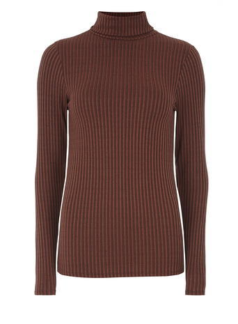 Womens Tall: Rust Rib Roll Neck Top Red - pattern: plain; neckline: roll neck; predominant colour: tan; occasions: casual; length: standard; style: top; fibres: polyester/polyamide - stretch; fit: body skimming; sleeve length: long sleeve; sleeve style: standard; texture group: knits/crochet; pattern type: fabric; season: a/w 2015; wardrobe: highlight