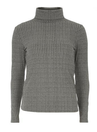 Womens Grey Marl Rib Roll Neck Grey - pattern: plain; neckline: roll neck; style: standard; predominant colour: mid grey; occasions: casual, creative work; length: standard; fibres: polyester/polyamide - stretch; fit: standard fit; sleeve length: long sleeve; sleeve style: standard; texture group: knits/crochet; pattern type: knitted - fine stitch; season: a/w 2015