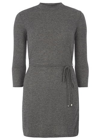 Womens Tall Grey High Neck Belted Tunic Grey - pattern: plain; style: tunic; waist detail: belted waist/tie at waist/drawstring; predominant colour: mid grey; occasions: casual, creative work; fit: body skimming; neckline: crew; length: mid thigh; sleeve length: 3/4 length; sleeve style: standard; pattern type: fabric; texture group: jersey - stretchy/drapey; fibres: viscose/rayon - mix; season: a/w 2015; wardrobe: basic