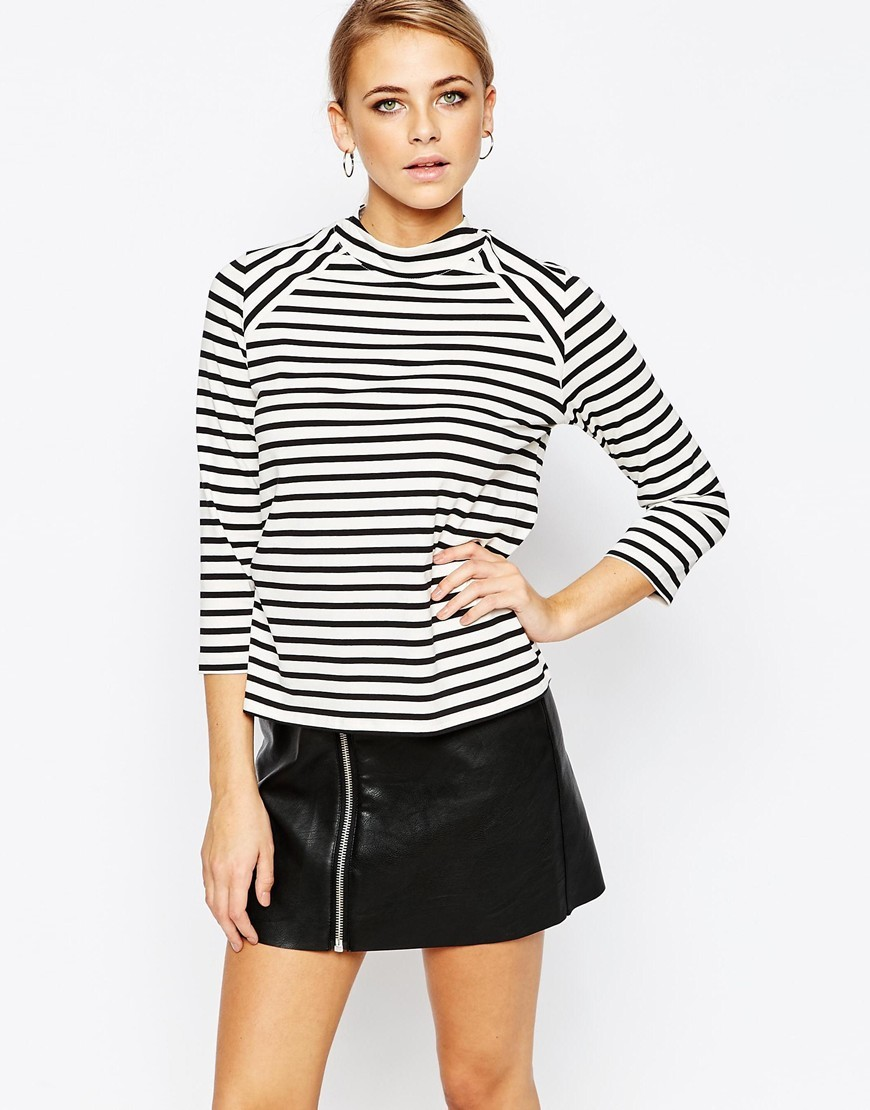 Stripe Ponte High Neck Top Black/Ivory - sleeve style: raglan; pattern: horizontal stripes; neckline: high neck; secondary colour: white; predominant colour: black; occasions: casual, creative work; length: standard; style: top; fibres: viscose/rayon - 100%; fit: straight cut; sleeve length: 3/4 length; pattern type: fabric; pattern size: standard; texture group: jersey - stretchy/drapey; season: a/w 2015; wardrobe: basic