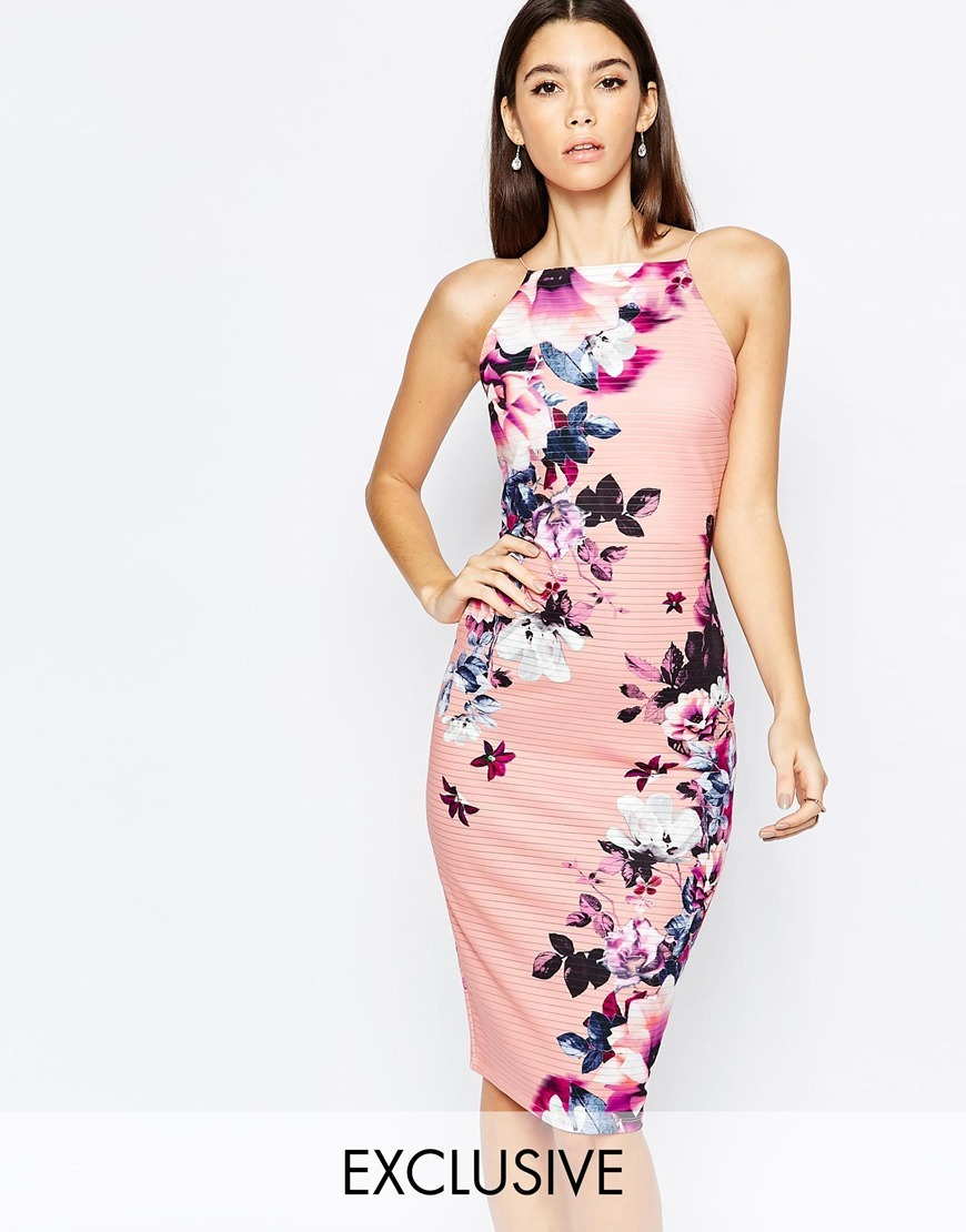 High Neck Pencil Dress In Elegant Blossom Floral Dark Blush Floral - style: shift; sleeve style: sleeveless; neckline: high neck; secondary colour: pink; predominant colour: navy; occasions: evening, occasion; length: on the knee; fit: body skimming; fibres: polyester/polyamide - stretch; sleeve length: sleeveless; pattern type: fabric; pattern size: standard; pattern: florals; texture group: jersey - stretchy/drapey; multicoloured: multicoloured; season: a/w 2015