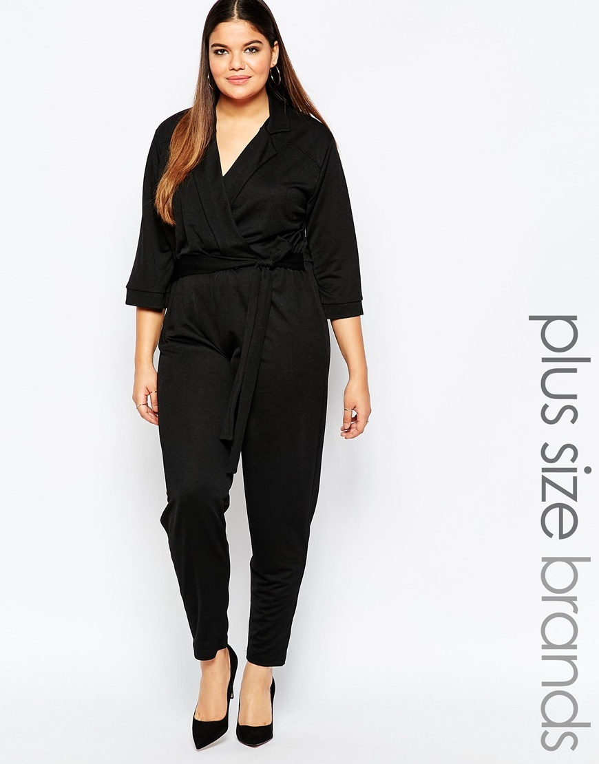 Tailored Jumpsuit Tie Waist Detail Black - length: standard; neckline: shirt collar/peter pan/zip with opening; fit: fitted at waist; pattern: plain; waist detail: belted waist/tie at waist/drawstring; predominant colour: black; occasions: evening, occasion; fibres: polyester/polyamide - stretch; sleeve length: 3/4 length; sleeve style: standard; style: jumpsuit; pattern type: fabric; texture group: other - light to midweight; season: a/w 2015; wardrobe: event
