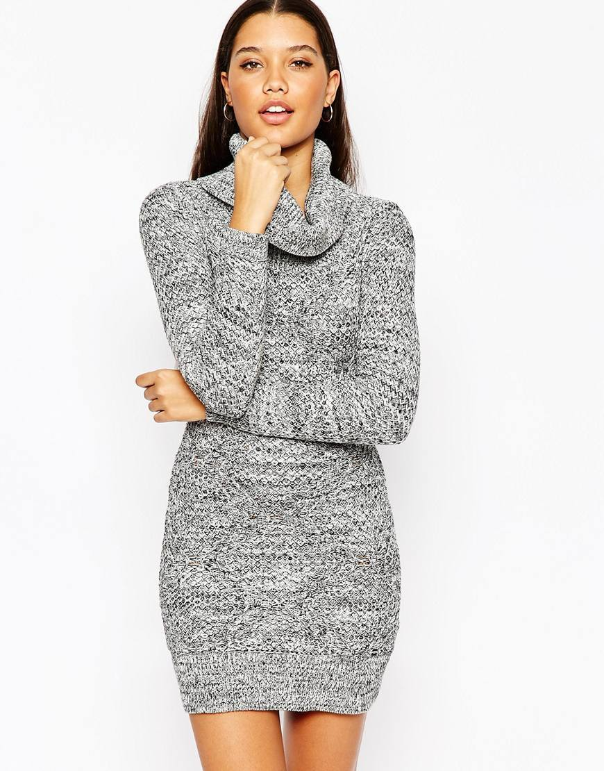 Michelle Keegan Loves Knitted Roll Neck Bodycon Dress Grey - style: jumper dress; length: mid thigh; pattern: plain; neckline: roll neck; predominant colour: mid grey; secondary colour: light grey; occasions: casual; fit: body skimming; fibres: cotton - 100%; sleeve length: long sleeve; sleeve style: standard; texture group: knits/crochet; pattern type: knitted - fine stitch; season: a/w 2015; wardrobe: basic