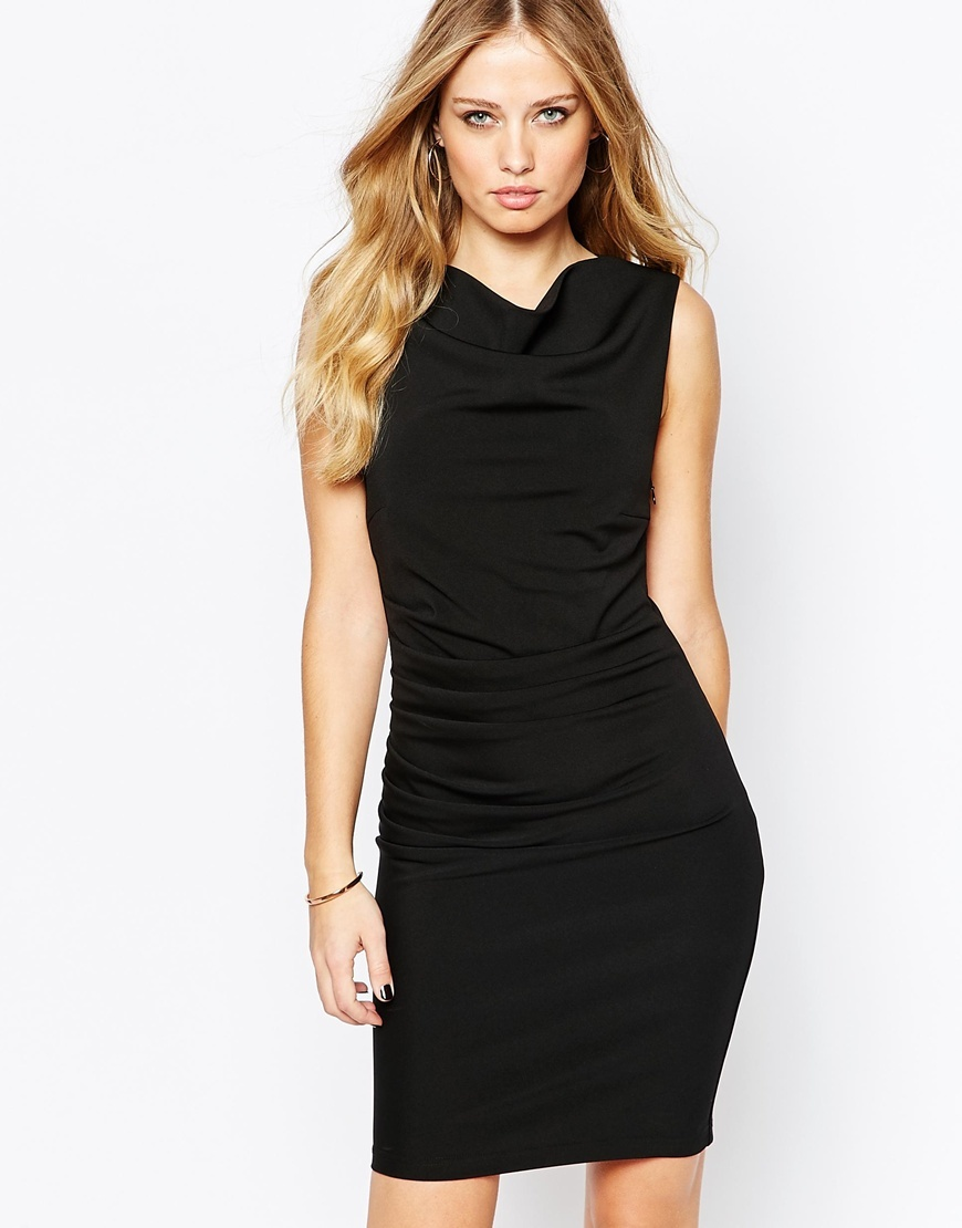 Laneway Ruched Pencil Dress Black - style: shift; neckline: cowl/draped neck; pattern: plain; sleeve style: sleeveless; predominant colour: black; occasions: evening, occasion; length: just above the knee; fit: body skimming; fibres: polyester/polyamide - 100%; sleeve length: sleeveless; pattern type: fabric; texture group: jersey - stretchy/drapey; season: a/w 2015