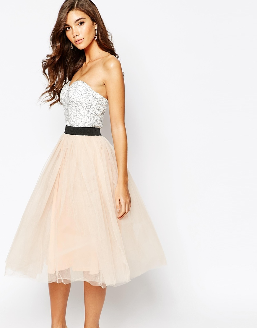 London Lace Prom Midi Dress With Tulle Skirt Cream/Nude Pink - length: below the knee; neckline: strapless (straight/sweetheart); sleeve style: strapless; waist detail: embellishment at waist/feature waistband; secondary colour: white; predominant colour: nude; fit: fitted at waist & bust; style: fit & flare; fibres: polyester/polyamide - mix; occasions: occasion; sleeve length: sleeveless; pattern type: fabric; pattern size: standard; pattern: patterned/print; texture group: net/tulle; embellishment: lace; season: a/w 2015