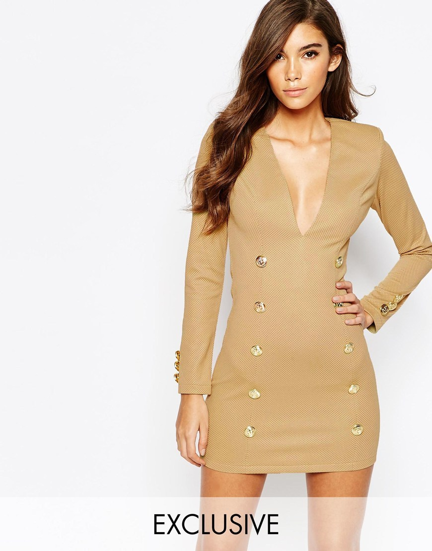 London Bodycon Dress With Military Gold Button Detail Camel - length: mid thigh; neckline: plunge; fit: tight; pattern: plain; style: bodycon; predominant colour: gold; occasions: evening; fibres: polyester/polyamide - stretch; sleeve length: long sleeve; sleeve style: standard; pattern type: fabric; texture group: jersey - stretchy/drapey; season: a/w 2015; wardrobe: event