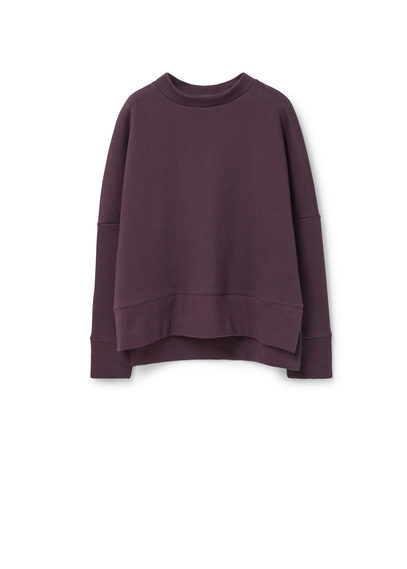 Cotton Sweatshirt - pattern: plain; style: sweat top; predominant colour: purple; occasions: casual, creative work; length: standard; fibres: cotton - mix; fit: body skimming; neckline: crew; back detail: longer hem at back than at front; sleeve length: long sleeve; sleeve style: standard; pattern type: fabric; texture group: other - light to midweight; season: a/w 2015