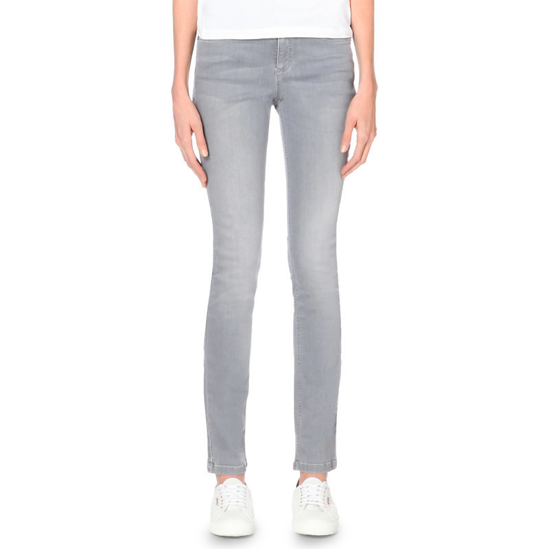 Skinny High Rise Jeans, Women's, Pale Grey - style: skinny leg; length: standard; pattern: plain; pocket detail: traditional 5 pocket; waist: mid/regular rise; predominant colour: light grey; occasions: casual; fibres: cotton - stretch; jeans detail: shading down centre of thigh; texture group: denim; pattern type: fabric; season: a/w 2015; wardrobe: highlight