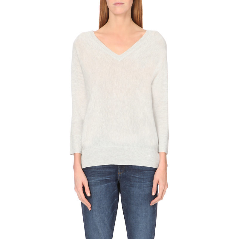 Batwing Knitted V Neck Jumper, Women's, Pale Grey Marl - neckline: low v-neck; sleeve style: dolman/batwing; pattern: plain; style: standard; predominant colour: light grey; occasions: casual, work, creative work; length: standard; fibres: polyester/polyamide - mix; fit: standard fit; sleeve length: 3/4 length; texture group: knits/crochet; pattern type: knitted - fine stitch; season: a/w 2015; wardrobe: basic