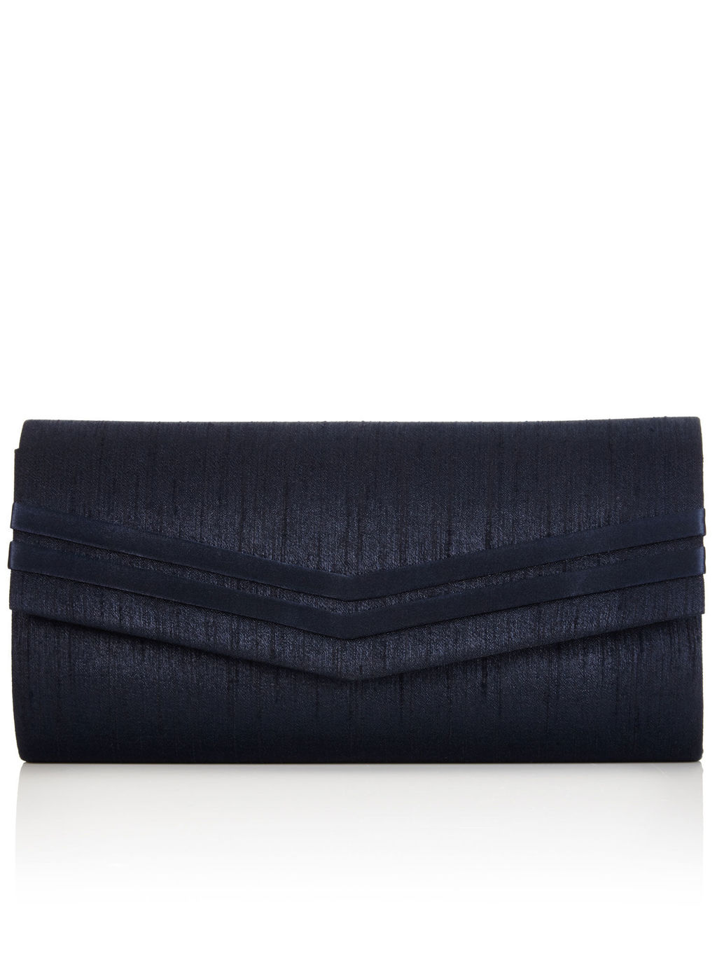 Stripe Clutch Bag - predominant colour: navy; occasions: evening, occasion; type of pattern: standard; style: clutch; length: hand carry; size: standard; material: fabric; pattern: plain; finish: plain; season: a/w 2015