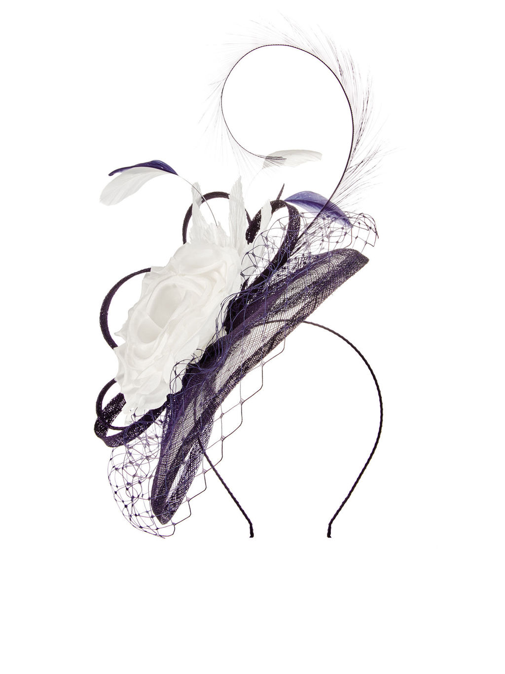 Veil Overlay Fascinator - secondary colour: white; predominant colour: aubergine; occasions: occasion; type of pattern: light; embellishment: feathers; style: fascinator; size: large; material: macrame/raffia/straw; pattern: colourblock; season: a/w 2015; wardrobe: event
