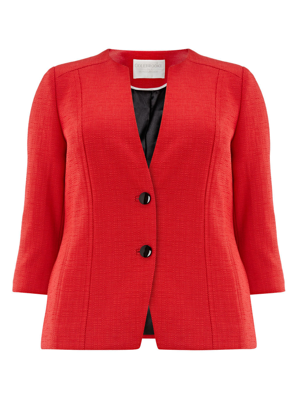Textured Jacket, Red - pattern: plain; style: single breasted blazer; collar: round collar/collarless; predominant colour: true red; length: standard; fit: tailored/fitted; fibres: cotton - mix; occasions: occasion; sleeve length: 3/4 length; sleeve style: standard; collar break: medium; pattern type: fabric; texture group: woven light midweight; season: a/w 2015; wardrobe: event