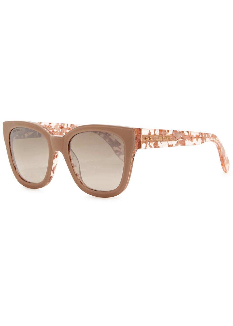 Otti Rose Wayfarer Style Sunglasses - predominant colour: nude; occasions: casual, holiday; style: d frame; size: large; material: plastic/rubber; pattern: plain; finish: plain; season: a/w 2015; wardrobe: basic