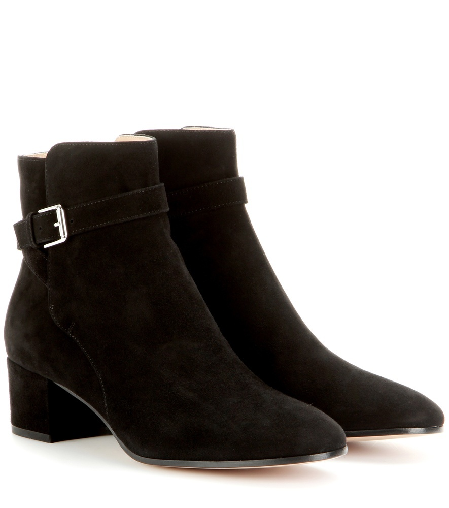 Suede Ankle Boots - predominant colour: black; occasions: casual; material: suede; heel height: mid; embellishment: buckles; heel: block; toe: round toe; boot length: ankle boot; style: standard; finish: plain; pattern: plain; season: a/w 2015; wardrobe: basic