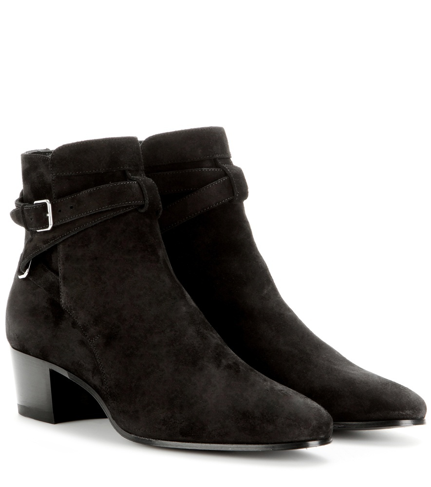 Blake 40 Jodhpur Leather Ankle Boots - predominant colour: black; occasions: casual; material: suede; heel height: mid; embellishment: buckles; heel: block; toe: round toe; boot length: ankle boot; style: standard; finish: plain; pattern: plain; season: a/w 2015; wardrobe: basic