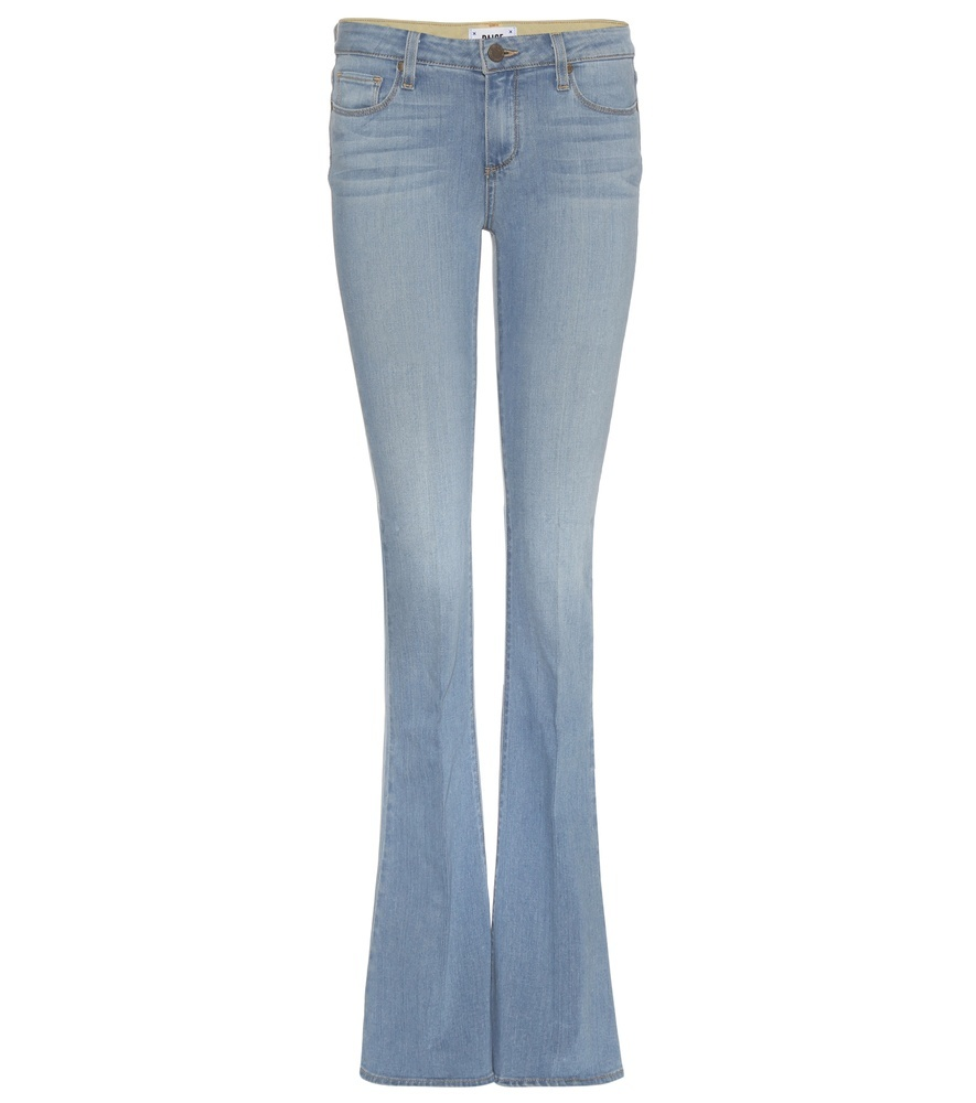 Lou Lou Flared Jeans - style: flares; length: standard; pattern: plain; pocket detail: traditional 5 pocket; waist: mid/regular rise; predominant colour: pale blue; occasions: casual; fibres: cotton - stretch; jeans detail: whiskering, shading down centre of thigh, washed/faded; texture group: denim; pattern type: fabric; season: a/w 2015