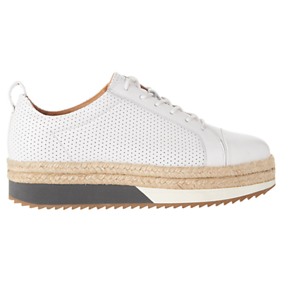 Melby Split Sole Flatform Trainers - predominant colour: white; occasions: casual, creative work; material: leather; heel height: flat; toe: round toe; style: trainers; finish: plain; pattern: colourblock; shoe detail: platform with tread; season: a/w 2015; wardrobe: highlight