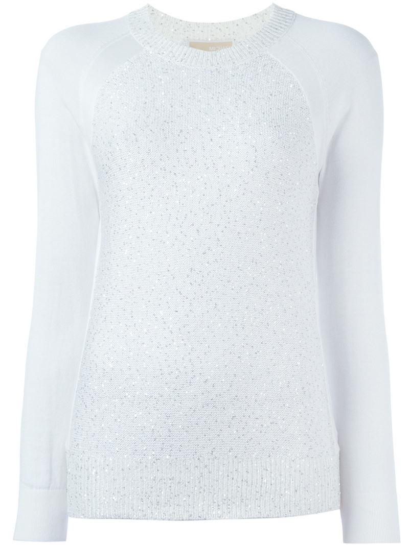 Sequinned Raglan Jumper, Women's, Size: Medium, White - sleeve style: raglan; pattern: plain; style: standard; predominant colour: pale blue; occasions: casual; length: standard; fibres: cotton - stretch; fit: standard fit; neckline: crew; sleeve length: long sleeve; texture group: knits/crochet; pattern type: knitted - fine stitch; season: a/w 2015; wardrobe: highlight