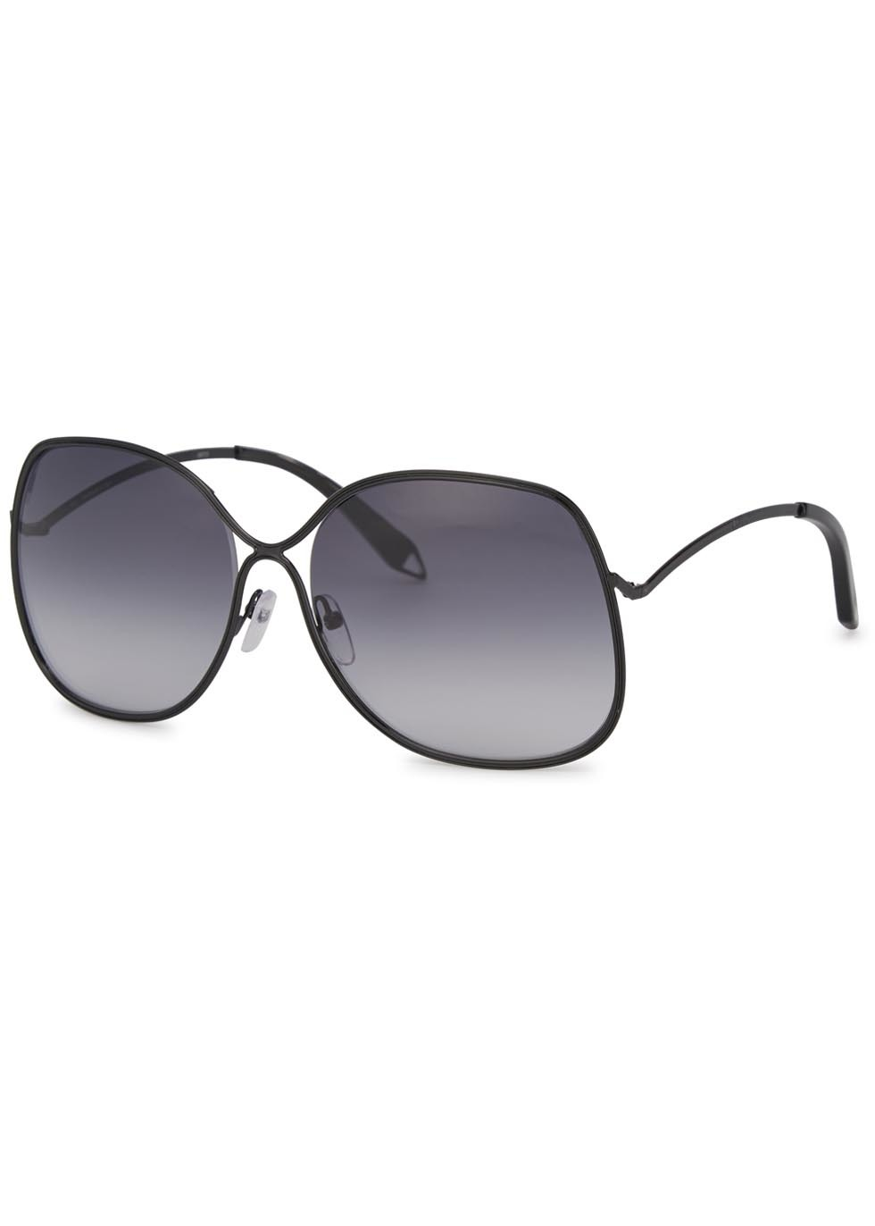 Enamel Wave Black Oversized Sunglasses - predominant colour: black; occasions: casual, holiday; style: square; size: large; material: plastic/rubber; pattern: plain; finish: plain; season: a/w 2015; wardrobe: basic