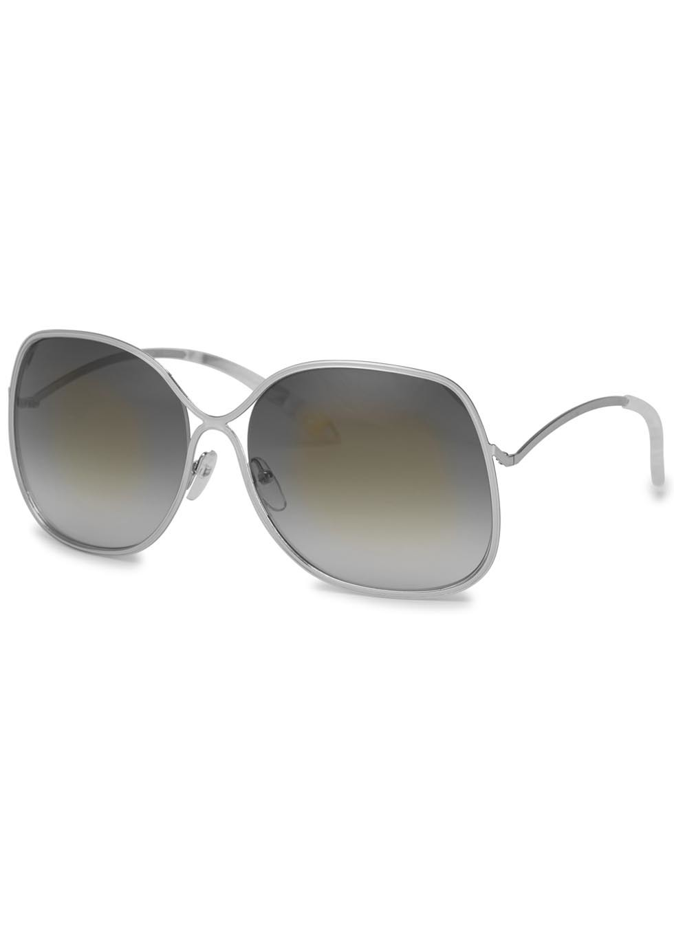 Enamel Wave Gold Tone Oversized Sunglasses - predominant colour: silver; occasions: casual, holiday; style: square; size: large; material: plastic/rubber; pattern: plain; finish: plain; season: a/w 2015; wardrobe: basic