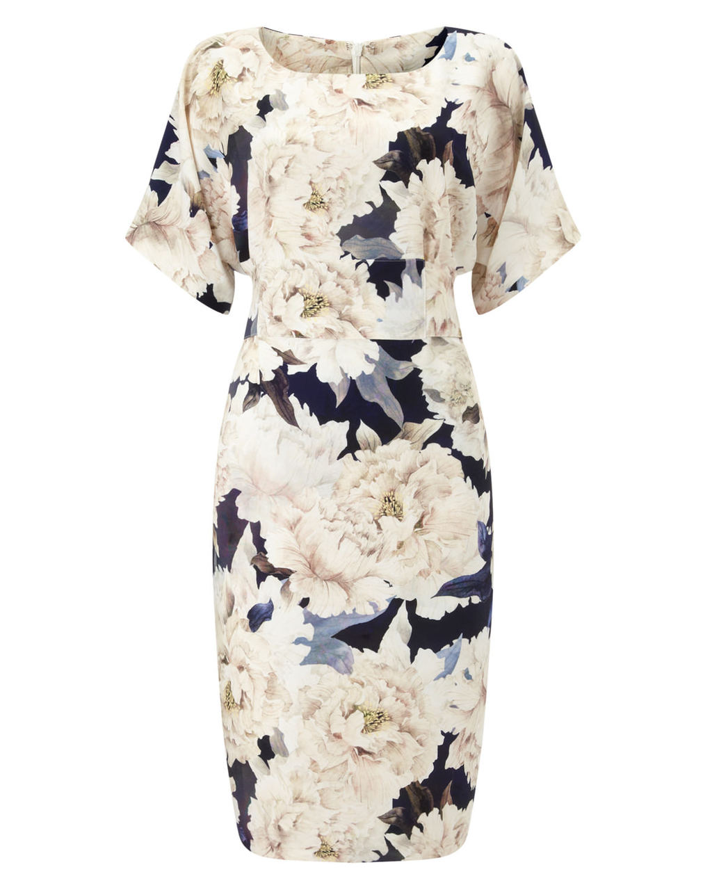 Peony Floral Dress - style: shift; neckline: round neck; fit: tailored/fitted; back detail: tie detail at back; predominant colour: ivory/cream; secondary colour: navy; length: on the knee; fibres: polyester/polyamide - 100%; occasions: occasion; sleeve length: half sleeve; sleeve style: standard; pattern type: fabric; pattern size: big & busy; pattern: florals; texture group: other - light to midweight; multicoloured: multicoloured; season: a/w 2015