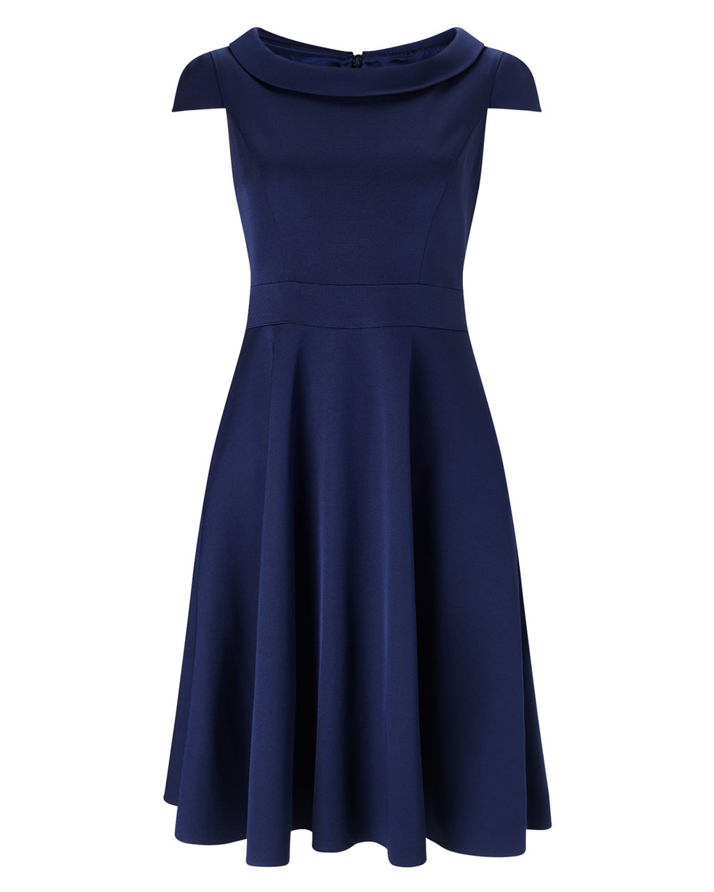 Nicola Fit And Flare Dress - neckline: round neck; sleeve style: capped; pattern: plain; predominant colour: navy; occasions: evening, occasion; length: on the knee; fit: fitted at waist & bust; style: fit & flare; fibres: viscose/rayon - stretch; sleeve length: short sleeve; pattern type: fabric; pattern size: standard; texture group: jersey - stretchy/drapey; season: a/w 2015