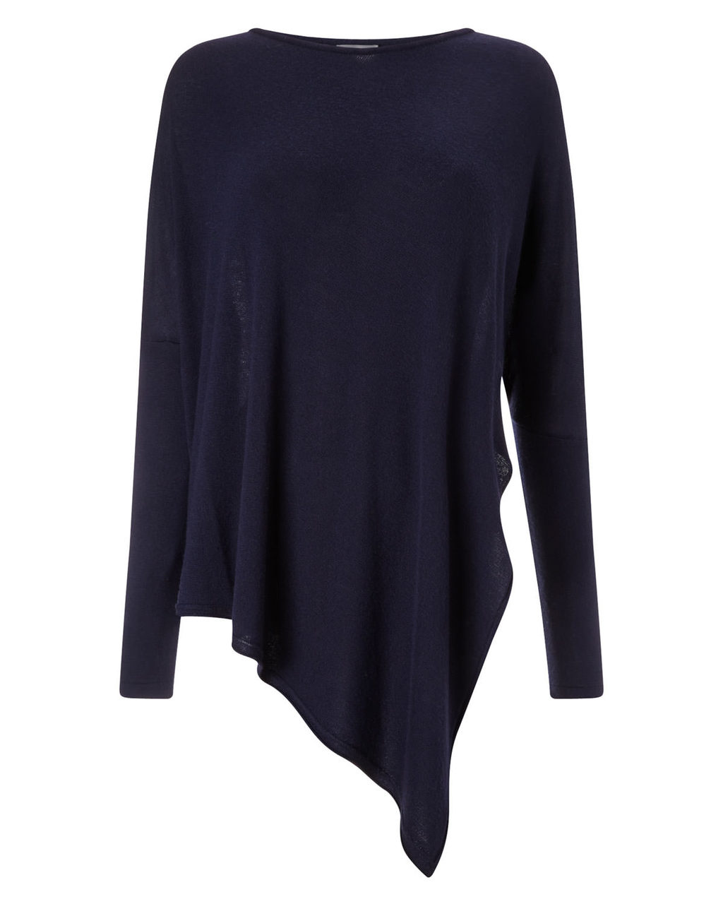 Reine Asymmetric Knit - pattern: plain; style: standard; predominant colour: navy; occasions: casual; length: standard; fit: slim fit; neckline: crew; sleeve length: long sleeve; sleeve style: standard; texture group: knits/crochet; pattern type: fabric; fibres: viscose/rayon - mix; season: a/w 2015