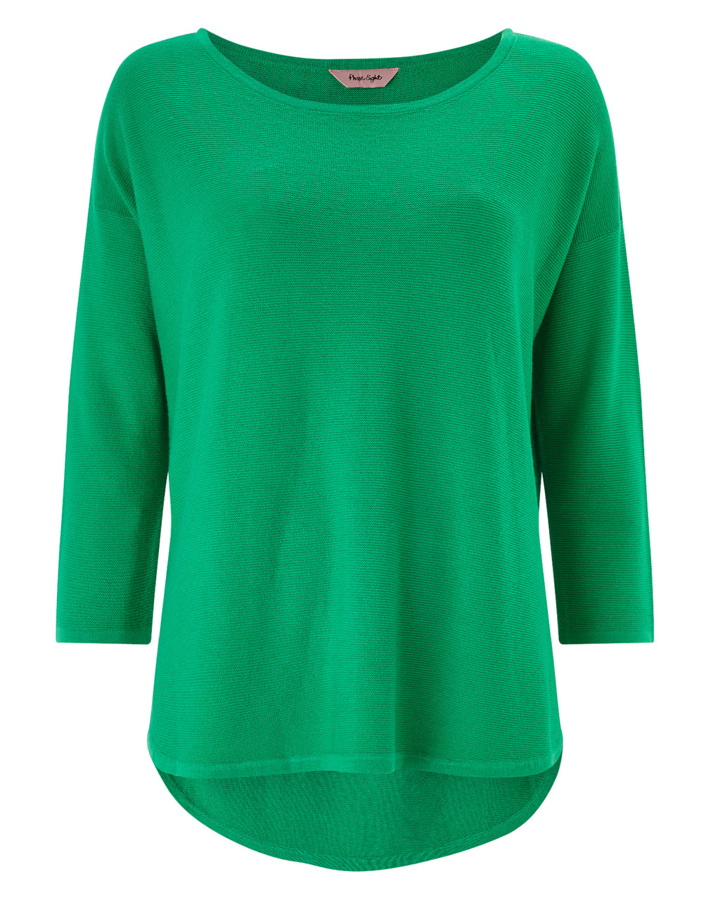 Megg Curve Hem Jumper - neckline: round neck; pattern: plain; length: below the bottom; style: standard; predominant colour: emerald green; occasions: casual; fit: slim fit; sleeve length: 3/4 length; sleeve style: standard; texture group: knits/crochet; pattern type: fabric; fibres: viscose/rayon - mix; season: a/w 2015; wardrobe: highlight