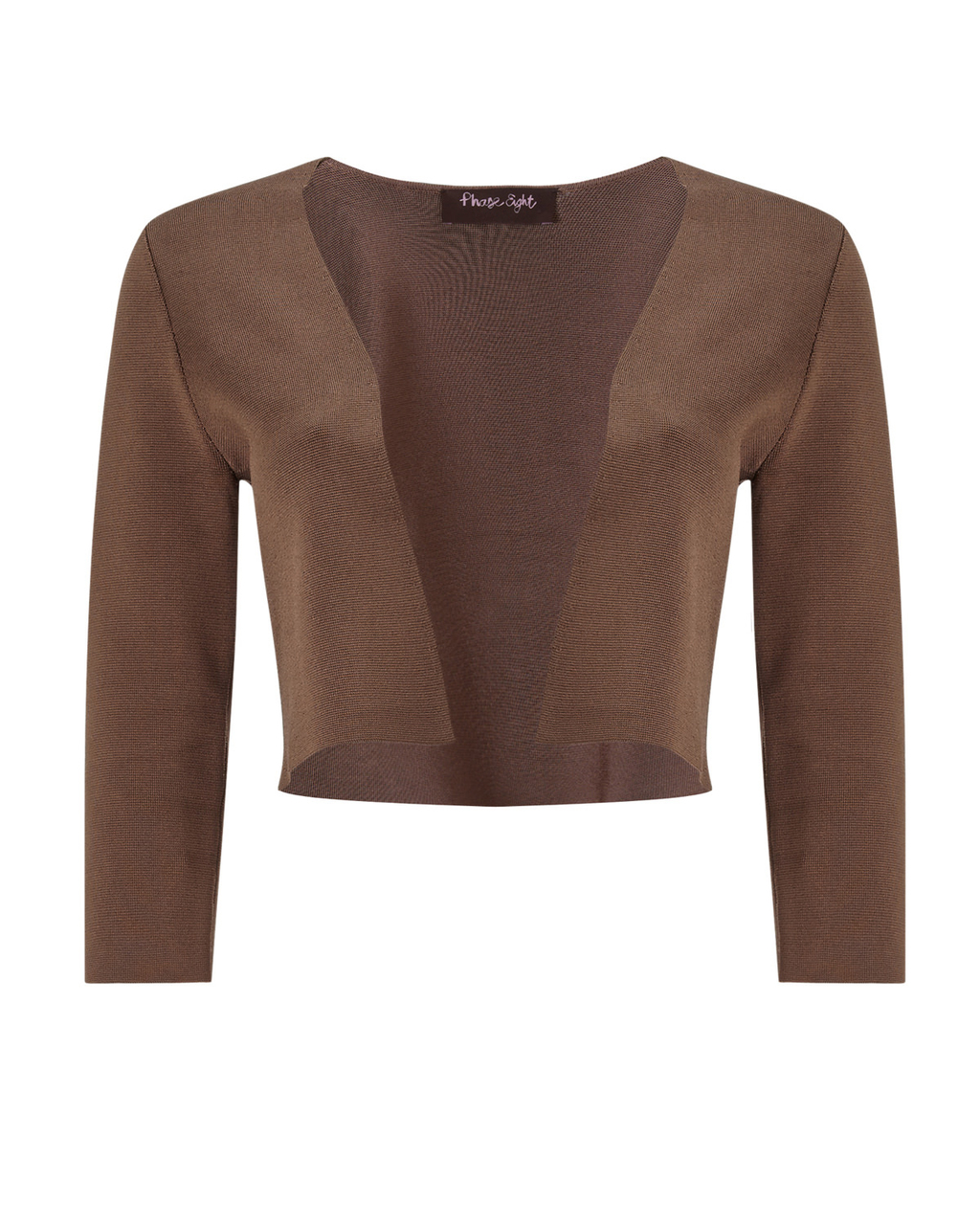 Salma Knit Jacket - pattern: plain; style: bolero/shrug; collar: round collar/collarless; predominant colour: taupe; occasions: evening; fit: straight cut (boxy); fibres: viscose/rayon - stretch; sleeve length: 3/4 length; sleeve style: standard; texture group: knits/crochet; collar break: low/open; pattern type: knitted - other; length: cropped; season: a/w 2015; wardrobe: event