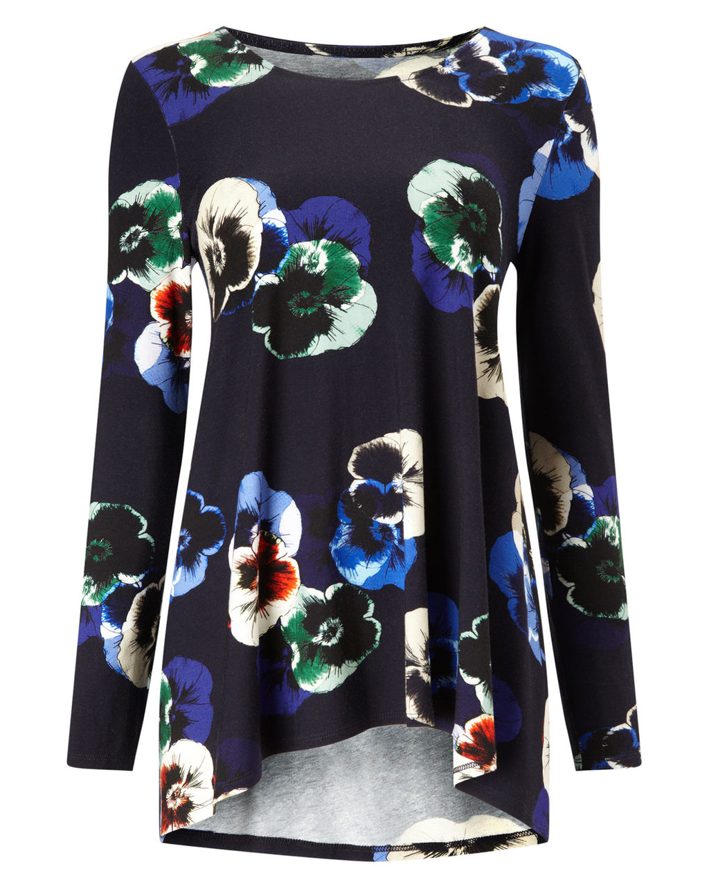 Pansy Print Longline Top - neckline: round neck; length: below the bottom; secondary colour: royal blue; predominant colour: black; occasions: casual; style: top; fibres: polyester/polyamide - stretch; fit: body skimming; sleeve length: long sleeve; sleeve style: standard; pattern type: fabric; pattern size: standard; pattern: florals; texture group: jersey - stretchy/drapey; season: a/w 2015