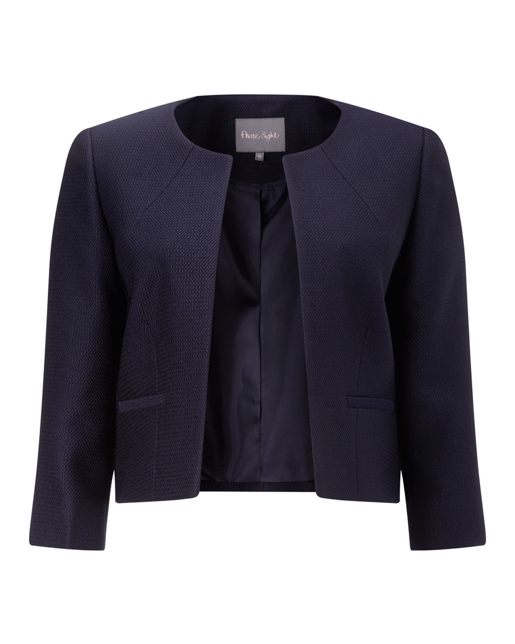Valetta Jacket - pattern: plain; collar: round collar/collarless; style: boxy; predominant colour: navy; occasions: work; length: standard; fit: straight cut (boxy); fibres: polyester/polyamide - 100%; sleeve length: 3/4 length; sleeve style: standard; collar break: high; pattern type: fabric; texture group: woven light midweight; season: a/w 2015; wardrobe: investment