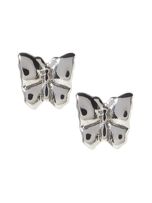 Butterfly Stud Earring Silver - predominant colour: silver; occasions: evening, occasion, creative work; style: stud; length: short; size: small/fine; material: chain/metal; fastening: pierced; finish: metallic; season: a/w 2015; wardrobe: basic