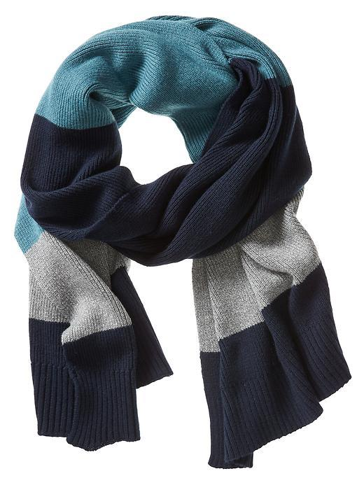Colorblock Scarf Teal - predominant colour: navy; secondary colour: light grey; occasions: casual; type of pattern: standard; style: regular; size: standard; material: knits; pattern: colourblock; multicoloured: multicoloured; season: a/w 2015; wardrobe: highlight