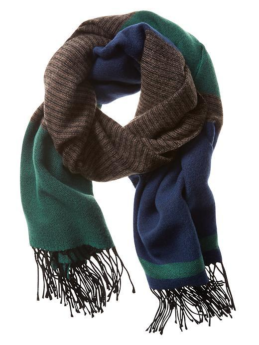 Variegated Stripe Scarf Stowaway Blue - predominant colour: navy; secondary colour: chocolate brown; occasions: casual; type of pattern: standard; style: regular; size: standard; material: fabric; embellishment: fringing; pattern: striped; multicoloured: multicoloured; season: a/w 2015; wardrobe: highlight
