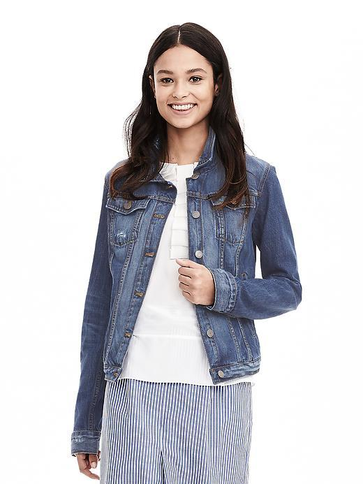 Distressed Denim Jacket Natural Denim - pattern: plain; style: denim; predominant colour: denim; occasions: casual; length: standard; fit: straight cut (boxy); fibres: cotton - stretch; collar: shirt collar/peter pan/zip with opening; sleeve length: long sleeve; sleeve style: standard; texture group: denim; collar break: high/illusion of break when open; pattern type: fabric; season: a/w 2015; wardrobe: highlight; embellishment location: bust