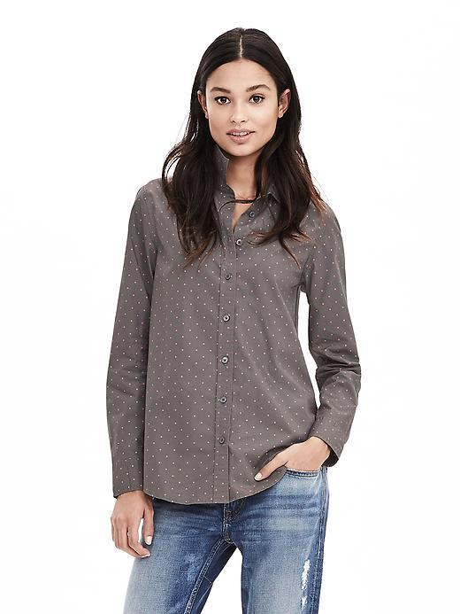 Dillon Fit Pindot Shirt Br Dot Warm - neckline: shirt collar/peter pan/zip with opening; pattern: plain; style: shirt; predominant colour: mid grey; occasions: casual, creative work; length: standard; fibres: cotton - 100%; fit: tailored/fitted; sleeve length: long sleeve; sleeve style: standard; texture group: cotton feel fabrics; pattern type: fabric; season: a/w 2015; wardrobe: basic
