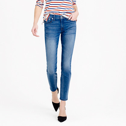 Tall Toothpick Jean In Harborside Wash - style: skinny leg; length: standard; pattern: plain; pocket detail: traditional 5 pocket; waist: mid/regular rise; predominant colour: denim; occasions: casual; fibres: cotton - stretch; jeans detail: whiskering, shading down centre of thigh; texture group: denim; pattern type: fabric; season: a/w 2015