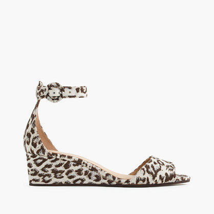 Laila Wedges In Leopard Print - predominant colour: tan; occasions: casual, creative work; material: leather; heel height: mid; ankle detail: ankle strap; heel: wedge; toe: open toe/peeptoe; style: strappy; finish: plain; pattern: animal print; multicoloured: multicoloured; season: a/w 2015