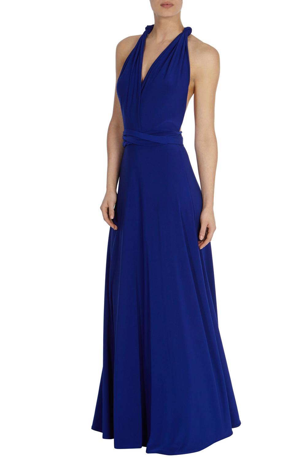 Corwin Multi Tie Dress - neckline: low v-neck; fit: fitted at waist; pattern: plain; sleeve style: sleeveless; style: maxi dress; predominant colour: royal blue; occasions: evening, occasion; length: floor length; fibres: polyester/polyamide - 100%; sleeve length: sleeveless; pattern type: fabric; texture group: jersey - stretchy/drapey; season: a/w 2015; wardrobe: event