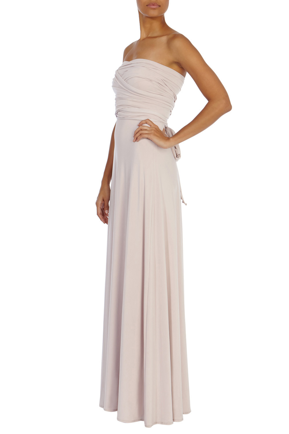 Corwin Multi Tie Maxi Sl - neckline: strapless (straight/sweetheart); pattern: plain; style: maxi dress; sleeve style: strapless; bust detail: subtle bust detail; predominant colour: nude; occasions: evening; length: floor length; fit: body skimming; fibres: polyester/polyamide - 100%; hip detail: subtle/flattering hip detail; sleeve length: sleeveless; pattern type: fabric; texture group: jersey - stretchy/drapey; season: a/w 2015; wardrobe: event